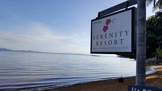 Serenity Resort sign on the Beach