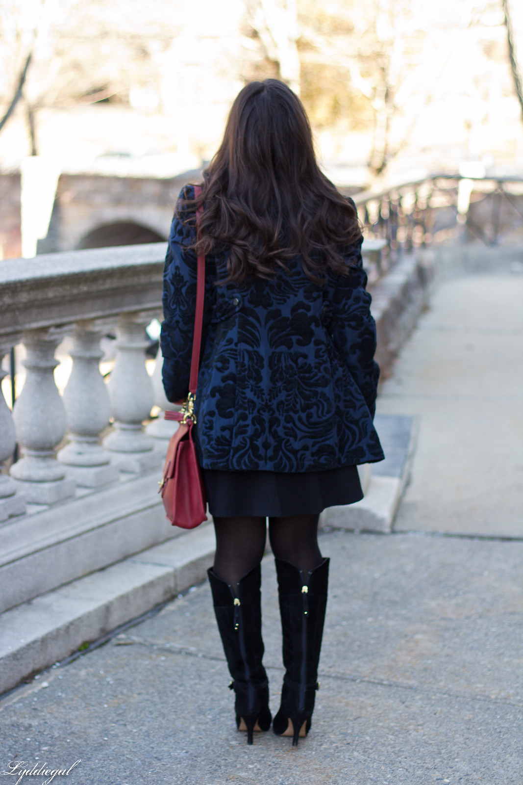 brocade coat, little black dress, red coach bag-3.jpg