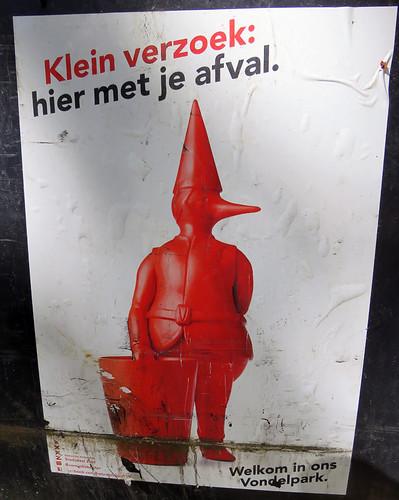 Surreal duck-person poster in Vondel Park, Amsterdam, Holland