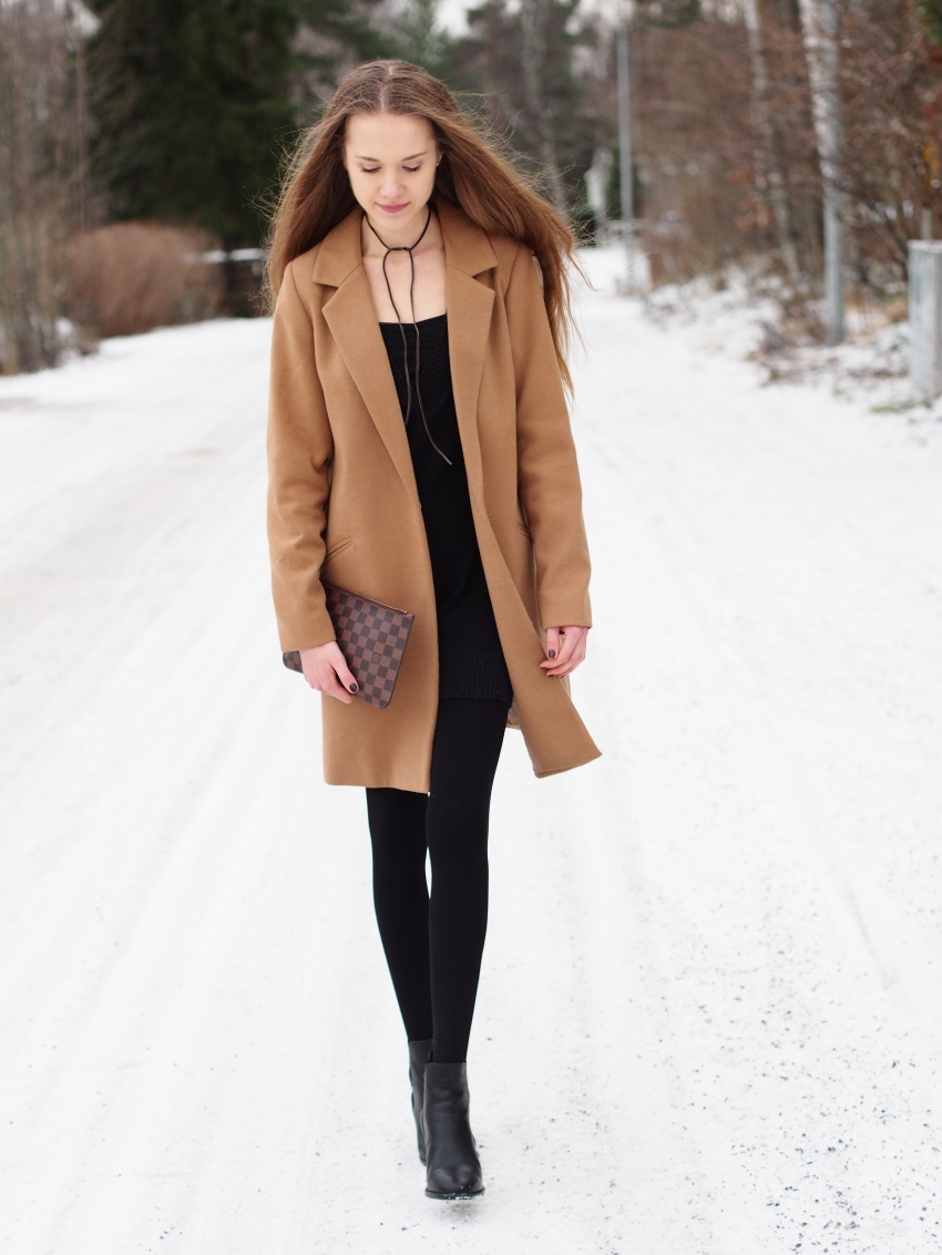 winter fashion with sweater dress