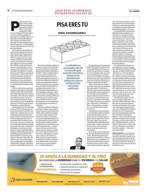 PISA eres tú (artículo publicado en El Correo del 29-12-16)