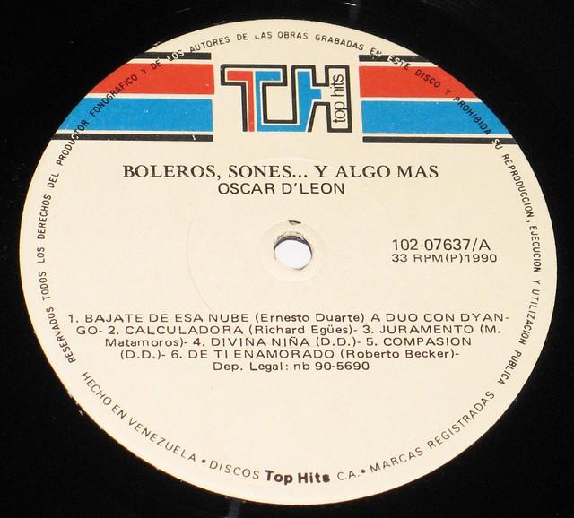 """Oscar D'Leon Boleros, Sones y Algo Mas Salsa Venezuela 12"""" vinyL LP"""