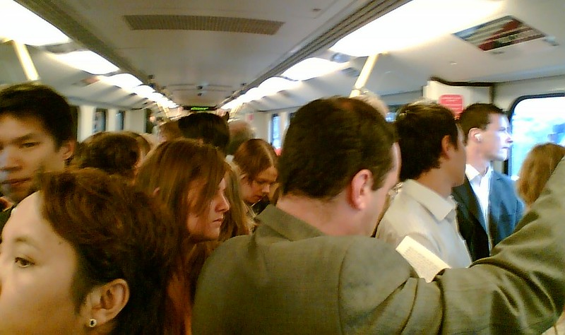 Crowded train, January 2007