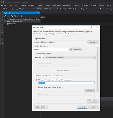 2.Paginación con ASP.NET en Visual Studio conectar con bbdd