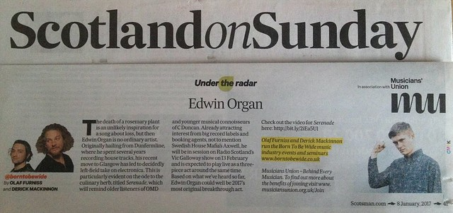 Scotland On Sunday, 8 January 2017, Edwin Organ