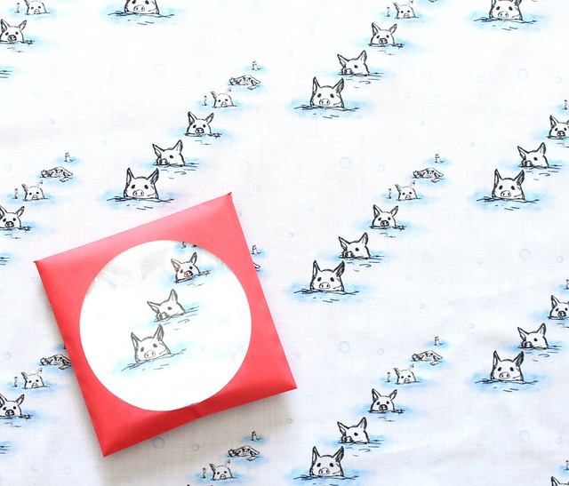 Moso Fabrics Swimming Pigs カットクロス