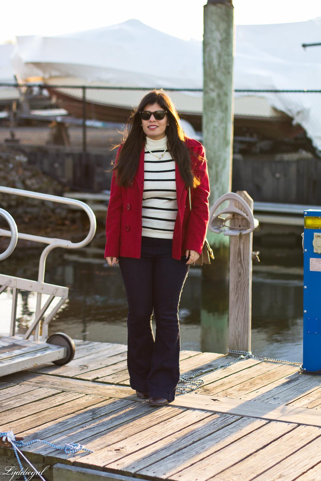 striped sweater, flared denim, red pea coat.jpg