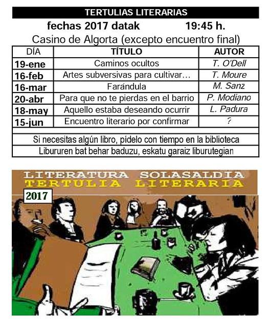 Calendario tertulias Literarias 2017