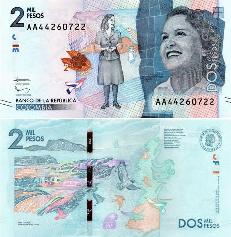 2000 kolumbijských pesos Kolumbia 2016, P462a