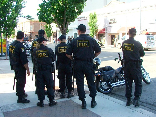 California Department of Justice police, San Benito Street, Hollister, June 30, 2006