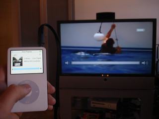iPod Video playing on my TV using a regular camcorder cable. | by Eli Hodapp