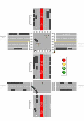 Bike Lane Solution.  (Please view Large version, and read explanation below.) | by ddartley