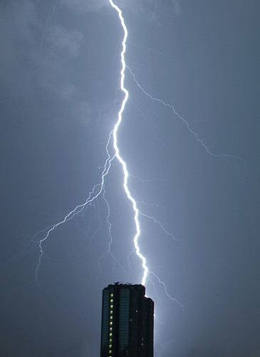 Lightning striking a building in glasgow | by don.mcv