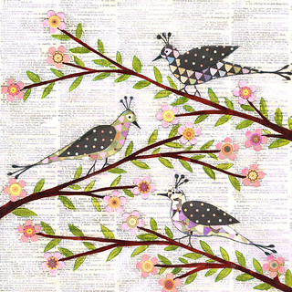 Whimsical Birds Collage Painting  on Vintage Book Pages Art by Sascalia | by sascalia
