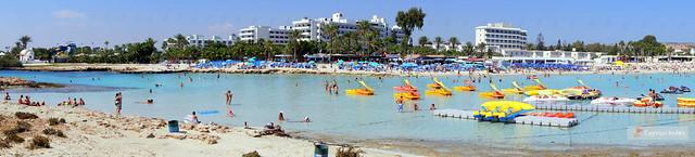 Panoramic views of Nissi Bay Beach, Ayia Napa, Cyprus