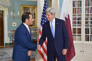 Secretary of State John Kerry Shakes hands with his Qatari counterpart Dr. Khalid Al Attiya