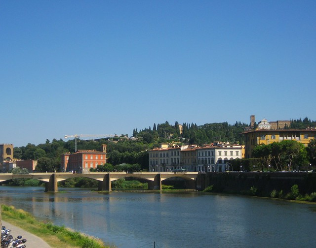 Florence for kids: View of the Oltrarno area, from beside Ponte Vecchio