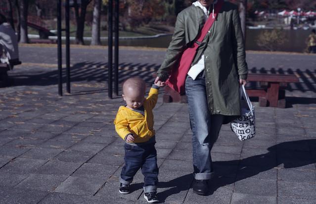 手を引かれ公園を歩く子