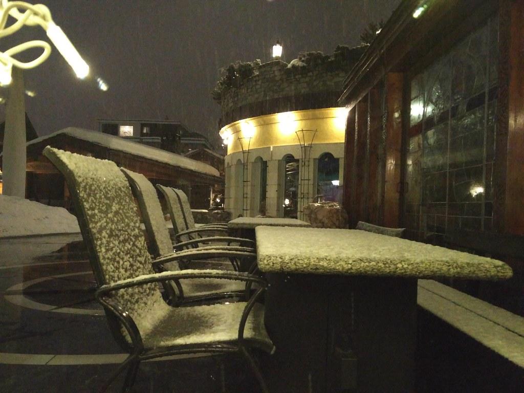 Snow on the patio