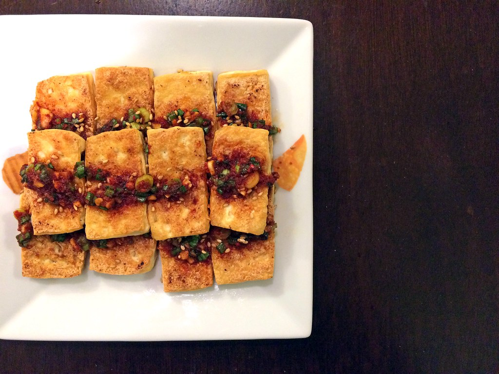 Panfried tofu with spicy seasoning sauce