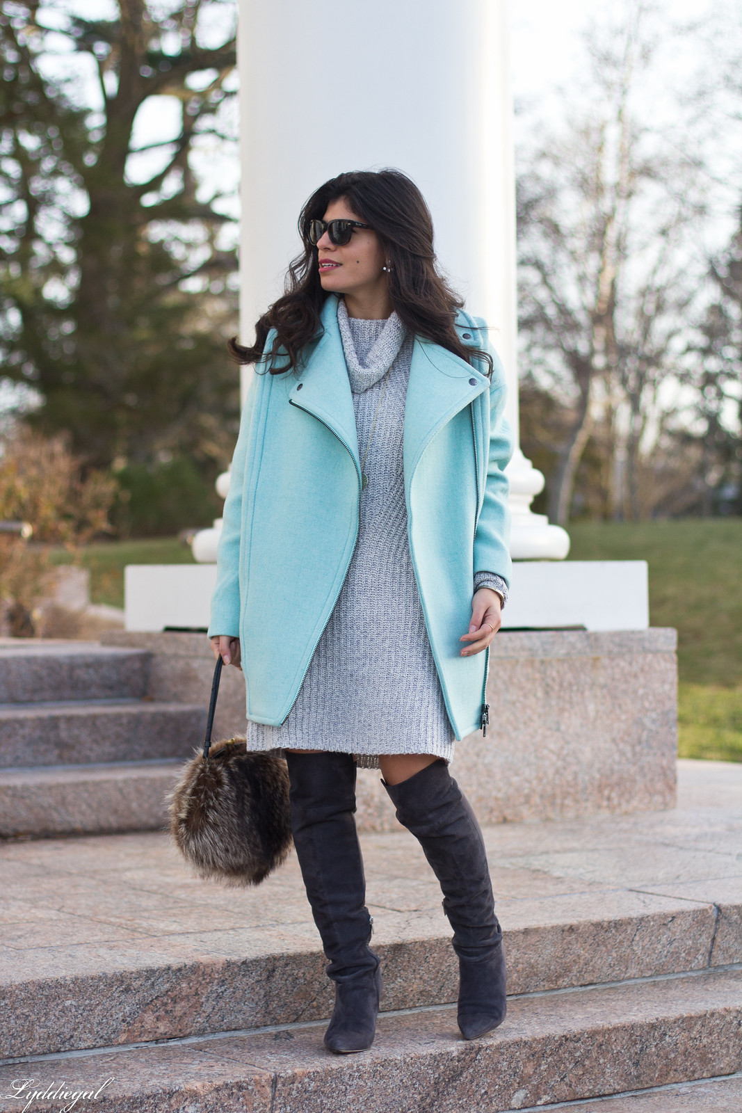 grey sweater dress, over the knee boots, fur bag.jpg