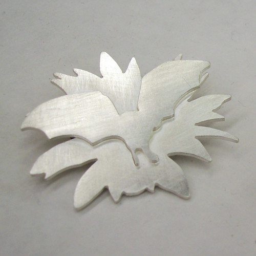 Sterling Silver Bat & Agave Brooch