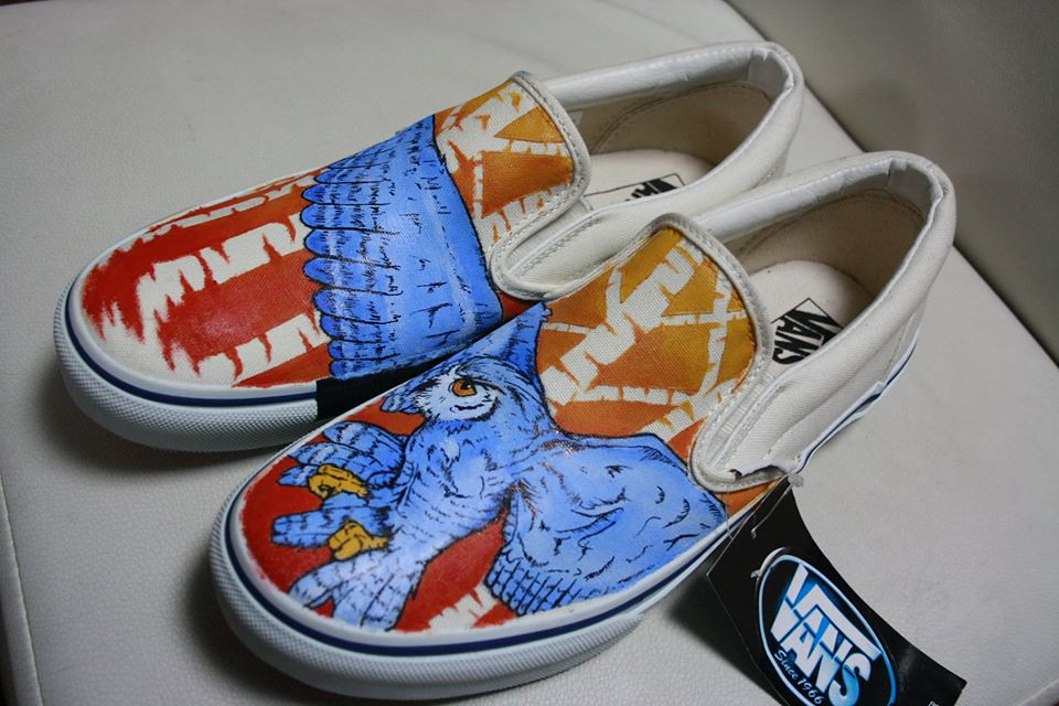 Custom shoe art by Danny P - Owl