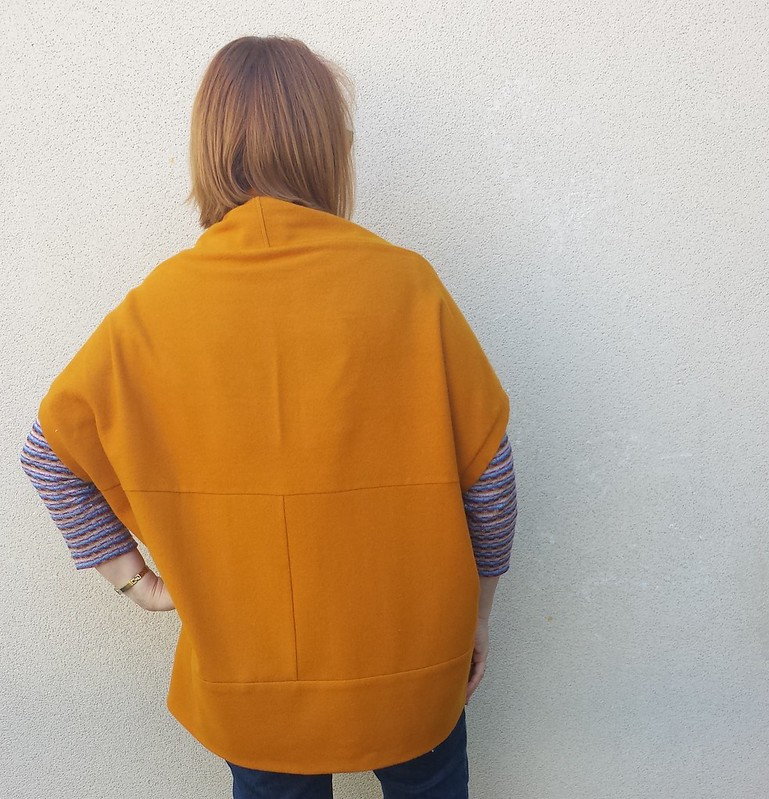 Style Arc Violet knit jacket in vintage wool woven
