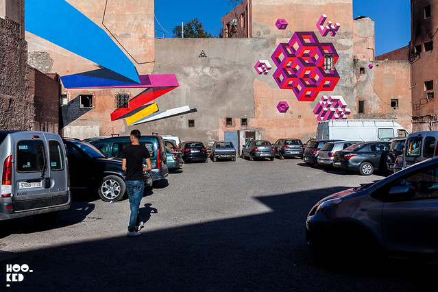 Street artist Remi Rough and LXONE Marrakech Street Art Murals. Photo ©Hookedblog
