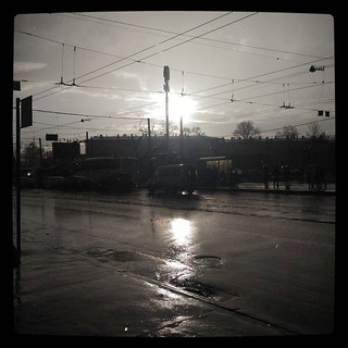 Typical situation: you're getting wetter but sun shines brightly over the next intersection for #365days project 110/365
