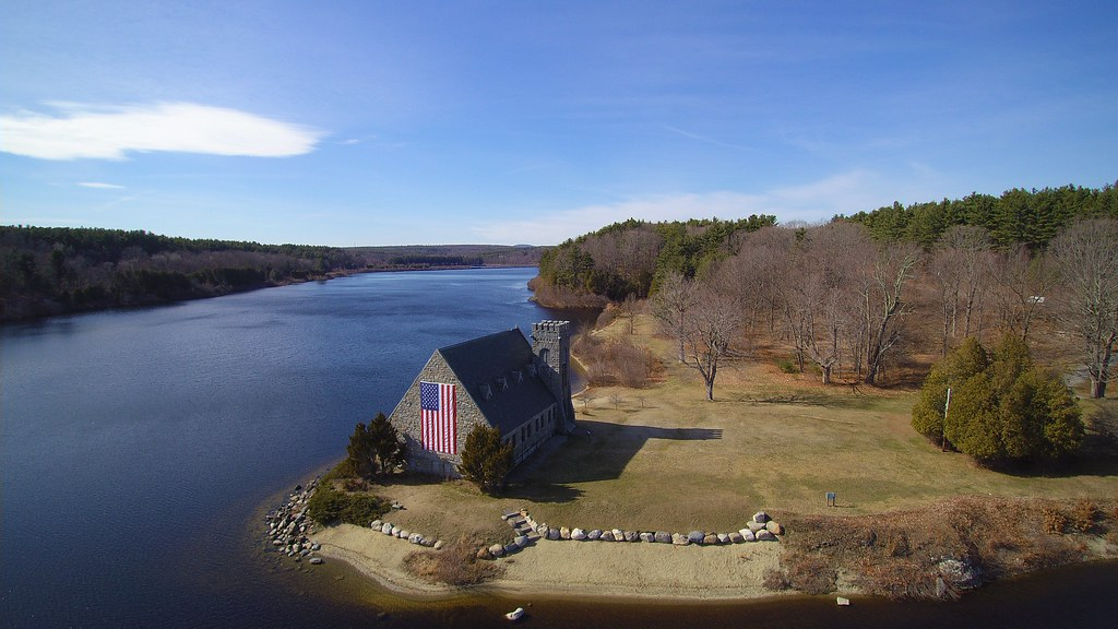 Old Stone Church at Wachusett Reservoir from the air. I'm starting to love the photography possibilities with my drone.