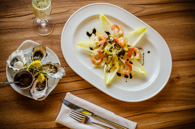 Endive & Mushroom salad with Local Oysters