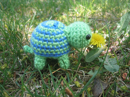Tiny Turtle eating dandelion flower | by craftyshanna