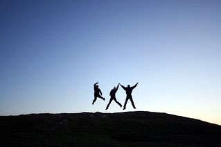 Jumping for joy on Moel Hiraddug | by clspeace