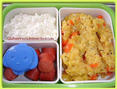 Bento Lunch:  Savory Grits, sausage bites and cottage cheese | by Kate Chan