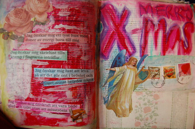 Art Journal spread for a Merry X-mas 2007, made by iHanna, Sweden