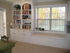 Walkout Basement Built-In Bookcase and Window Seat | by rbmky
