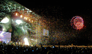 Coldplay Concert Stage (Osheaga 2009) with Fireworks & Butterflies | by Anirudh Koul