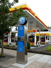 Electric vehicle charging station next to a Shell station, Lake Oswego, Oregon | by Todd Mecklem