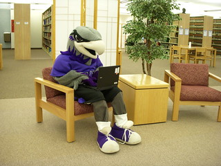 Willie uses an Andersen Library laptop | by uwwlibrary