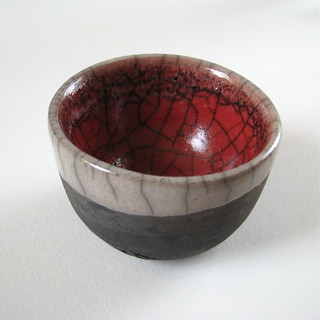 Little Red and White Raku Bowl | by Jude Allman