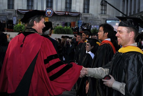 Shaking hands with graduates during the Commencement procession in 2007 | by Tower Talk