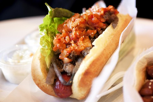 kimchi bulgogi hot dog @ ny hotdog & coffee | by bionicgrrrl