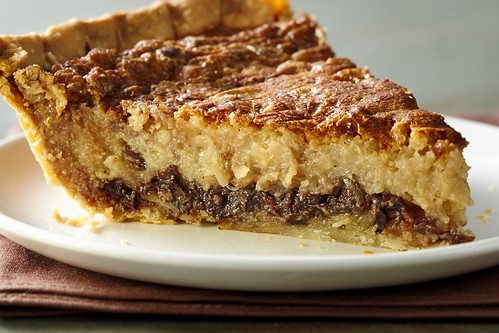 Chocolate Coconut pecan custard pie | by cakespy