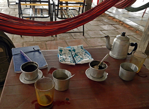 Vietnamese coffee at a 'hammock' café along the highway between HCMC and the Mekong