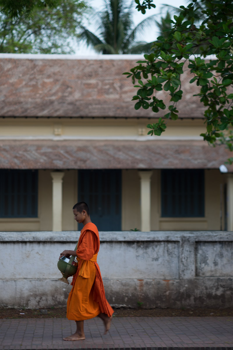 Monk collecting alms