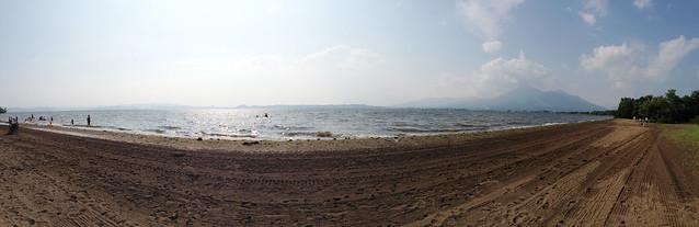 """Mt.Bandai and Lake Inawashiro """"Tenjinhama"""" beach panorama"""