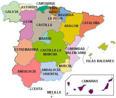 Mapa de España (con Andalucía Oriental y León)