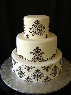 Damask Wedding Cake | by Crazy Cake Lady