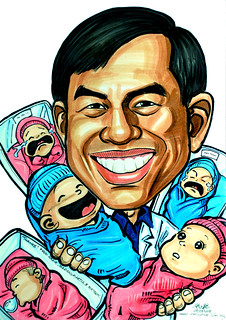 Caricature of a gynaecologist with babies | by jit@portraitworkshop.com